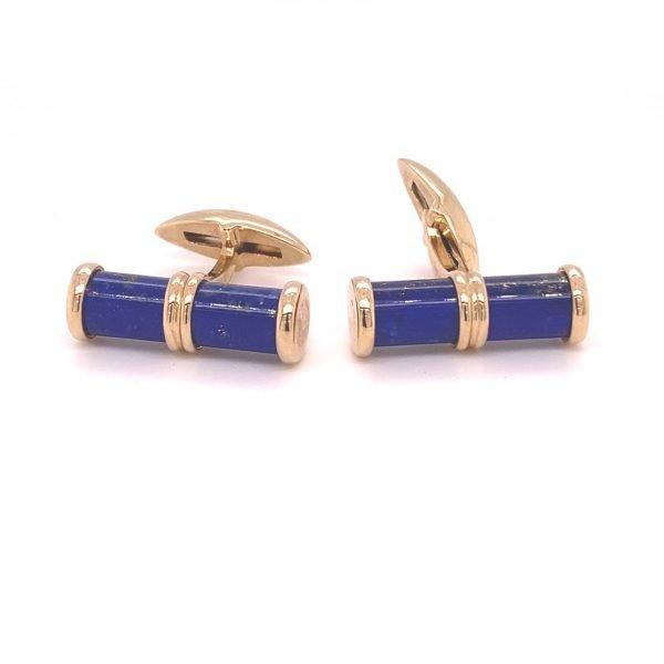 Lapis Lazuli and gold barrel cufflinks