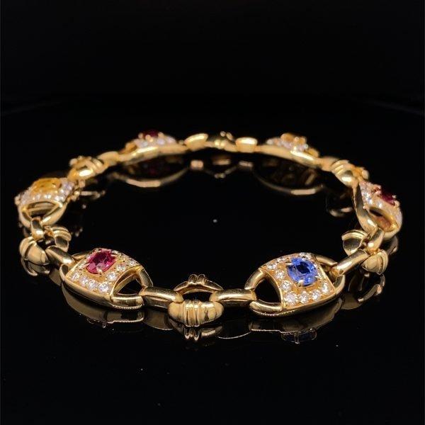 Sapphire and diamond yellow gold bracelet