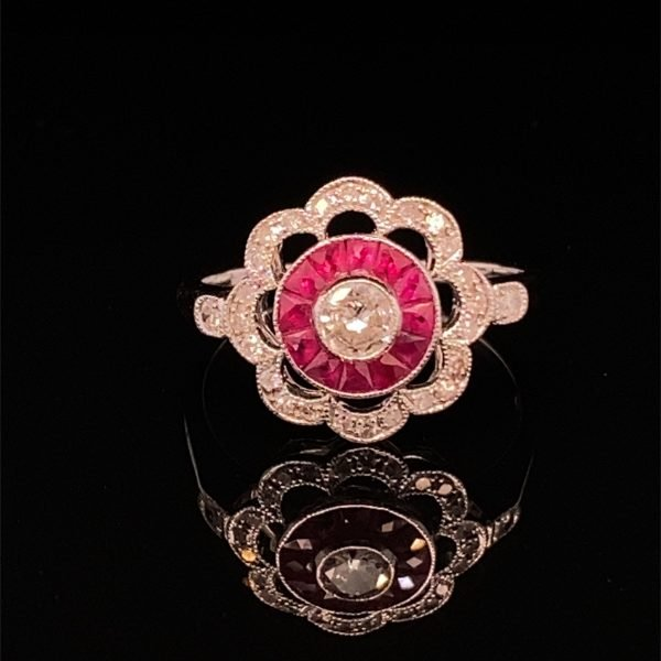 Ruby and diamond flower cluster ring