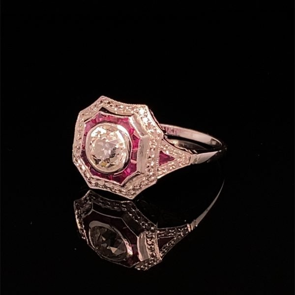 'Art Deco' style diamond and ruby ring