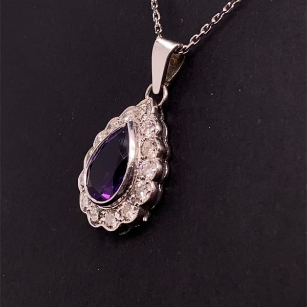 Amethyst and diamond pendant and chain