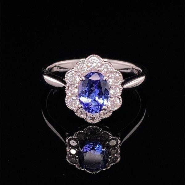 Tanzanite and diamond cluster ring