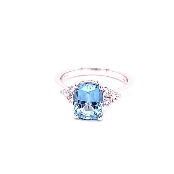 Aquamarine single stone ring, with diamond set shoulders