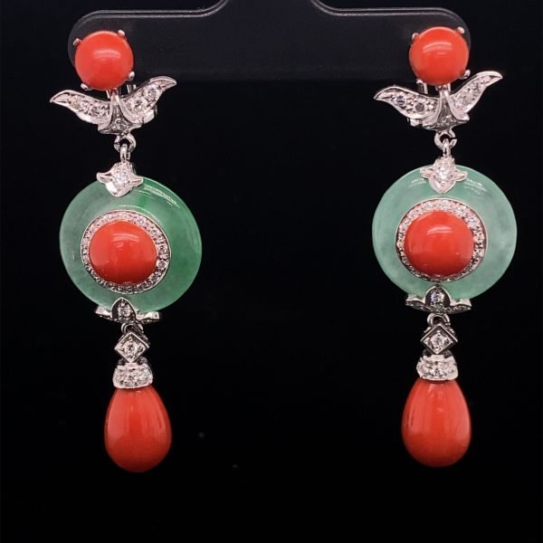 Jade and coral earrings
