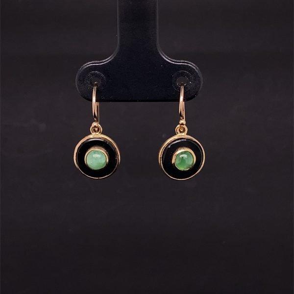 Jade and onyx disc drop earrings