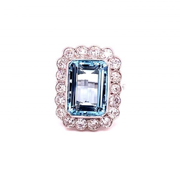 Aquamarine and diamond cluster ring