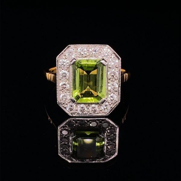 Peridot and diamond cluster ring