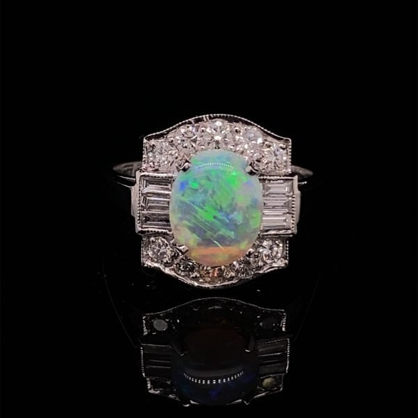 Diamond and opal cluster ring