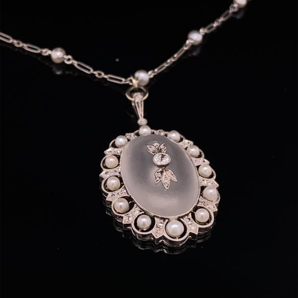 Rock crystal, pearl and diamond necklet