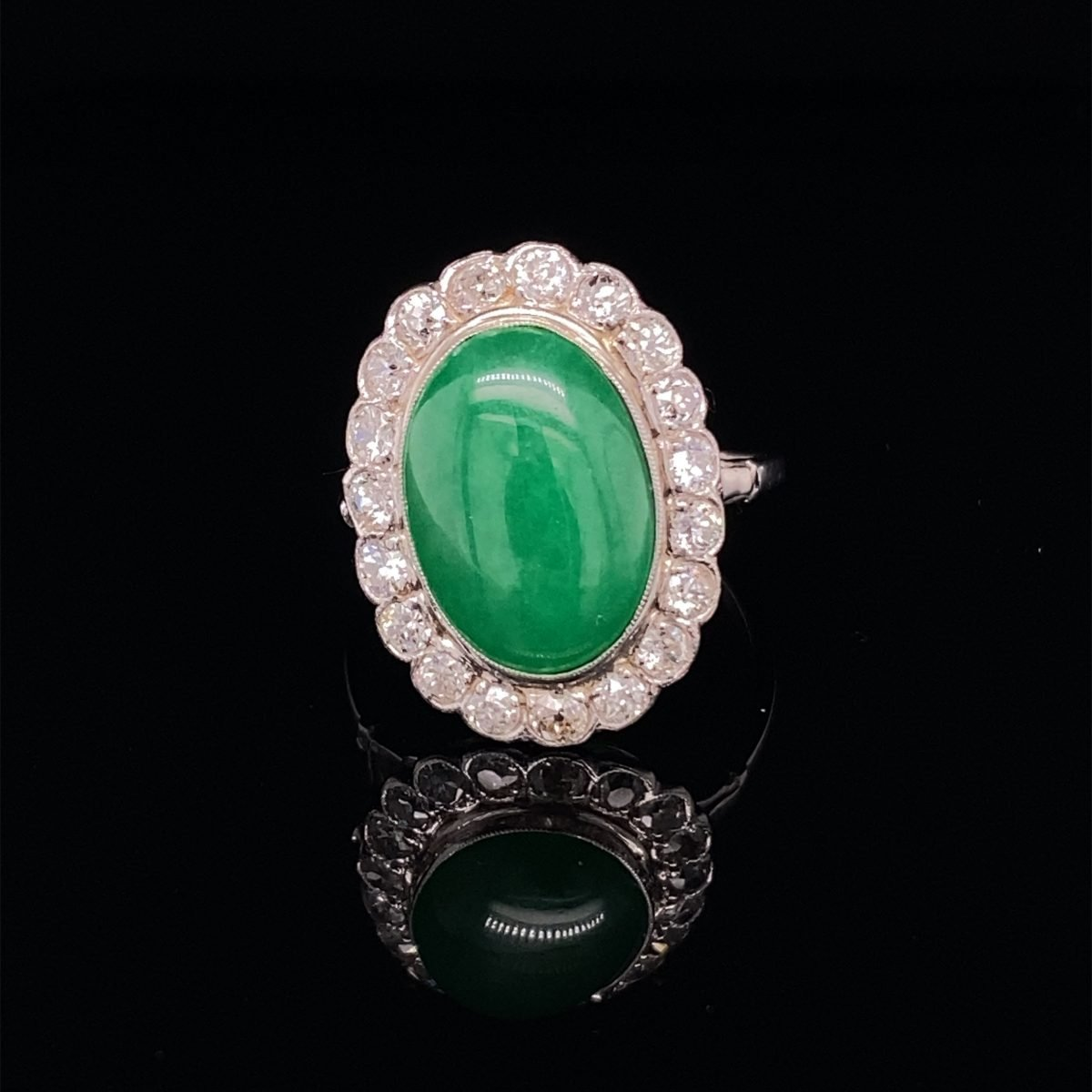 Jade and diamond cluster ring