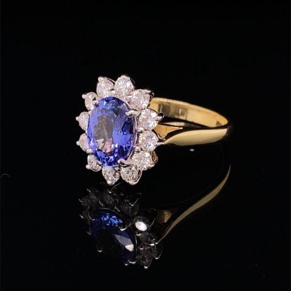 Tanzanite and diamond 'flower' cluster ring