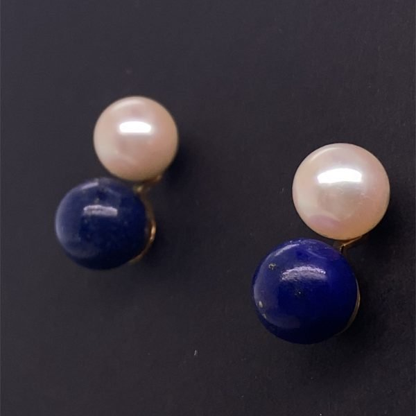 Lapis lazuli and pearl earrings