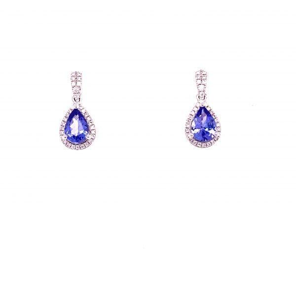Tanzanite and diamond drop earrings