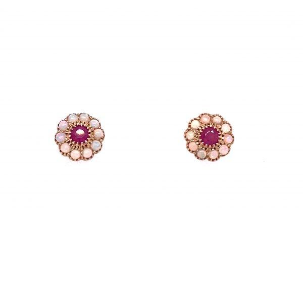 Opal and ruby cluster earrings