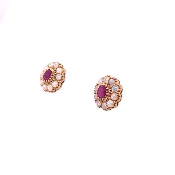 Opal and ruby cluster earrings