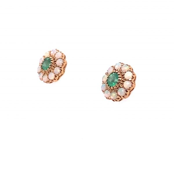Opal and emerald cluster earrings