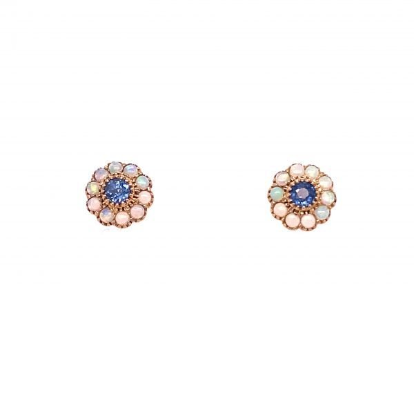 Opal and sapphire cluster earrings