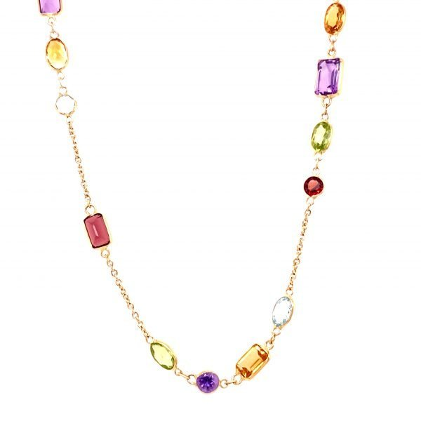 Multi-gem set necklace