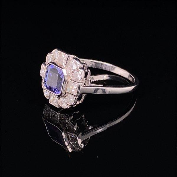 Tanzanite and diamond 'Art Deco' style cluster ring