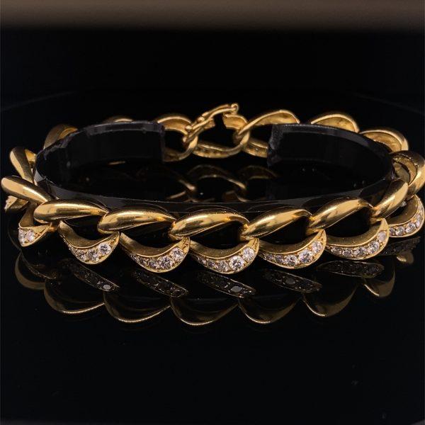 Diamond set curb bracelet