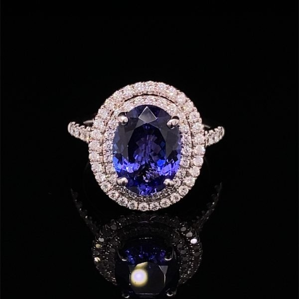 Tanzanite and diamond double row dress ring
