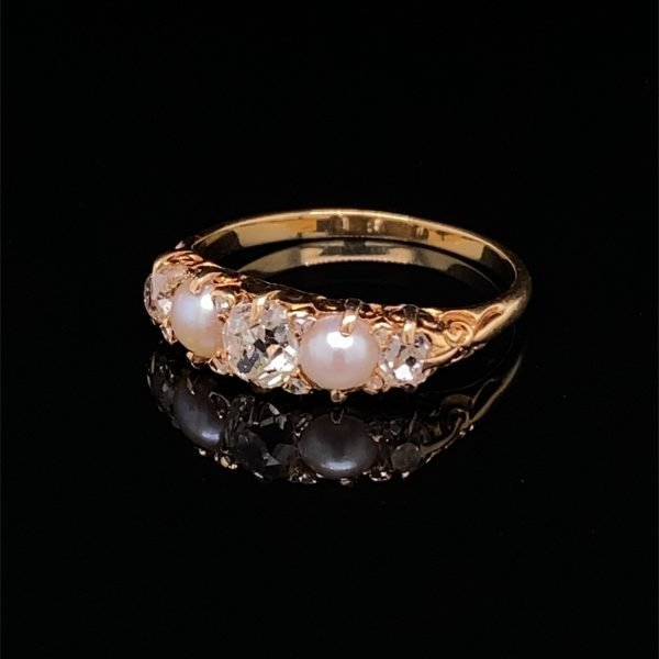 Pearl and diamond five stone ring