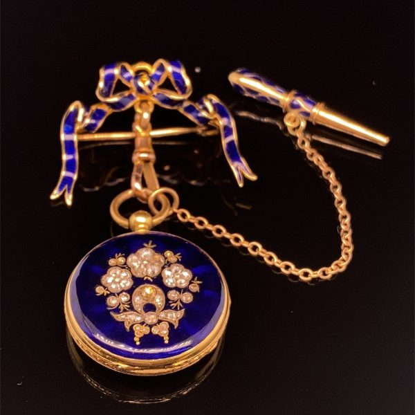 Diamond and enamel ladies fob watch with bow pin and key
