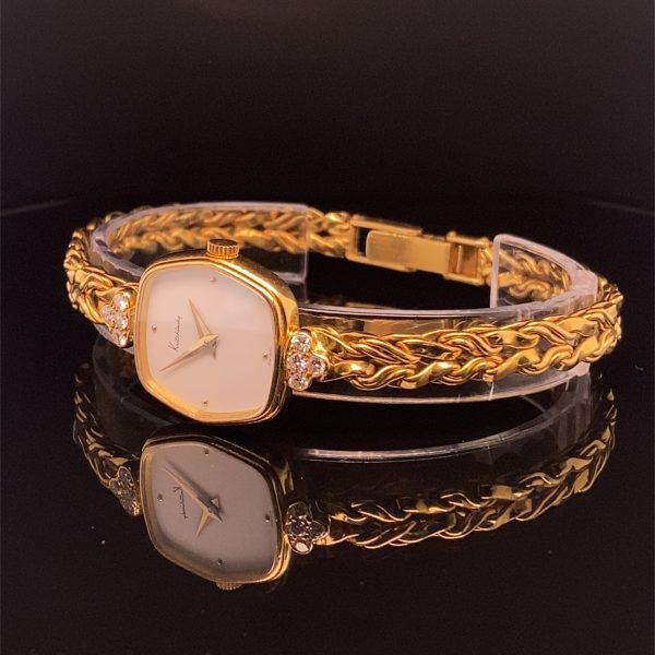 Yellow gold and diamond detail ladies Kutchinsky wristwatch