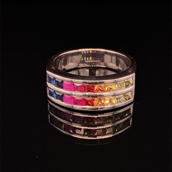 Multi-colour sapphire ring