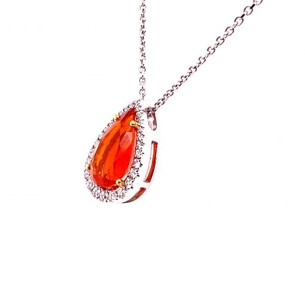 Fire opal and diamond pendant and chain