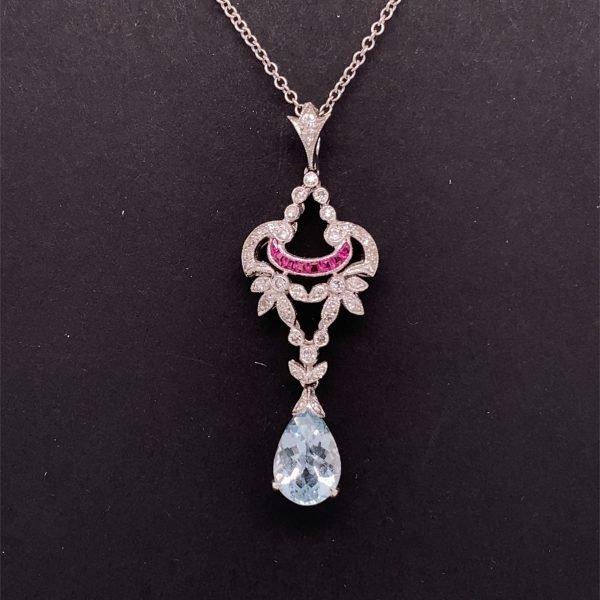Aquamarine, diamond and ruby pendant and chain
