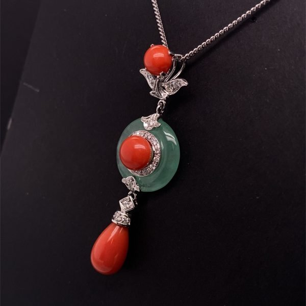 Jade, coral and diamond pendant and chain