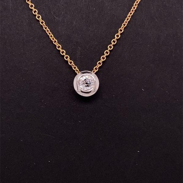 Diamond, rub over set, solitaire necklet