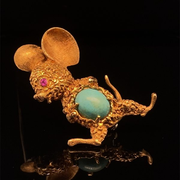 18ct yellow gold mouse brooch