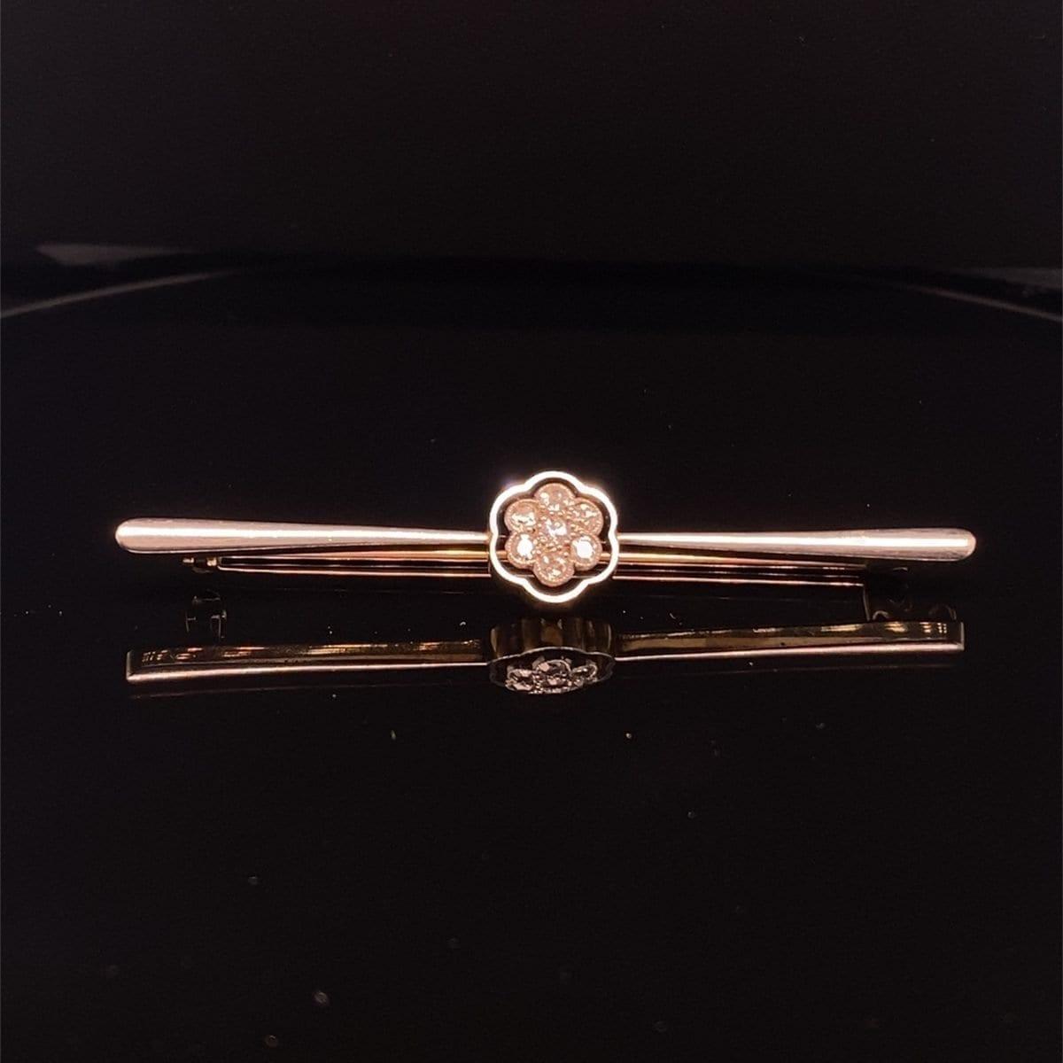 Diamond flower design bar brooch