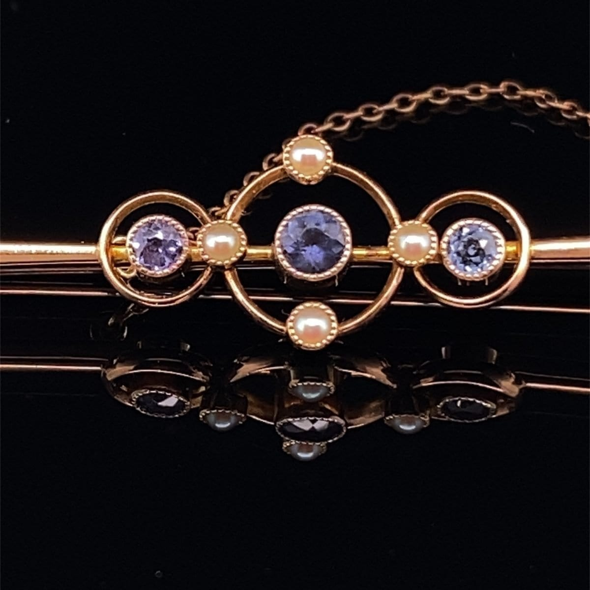 Sapphire and pearl bar brooch