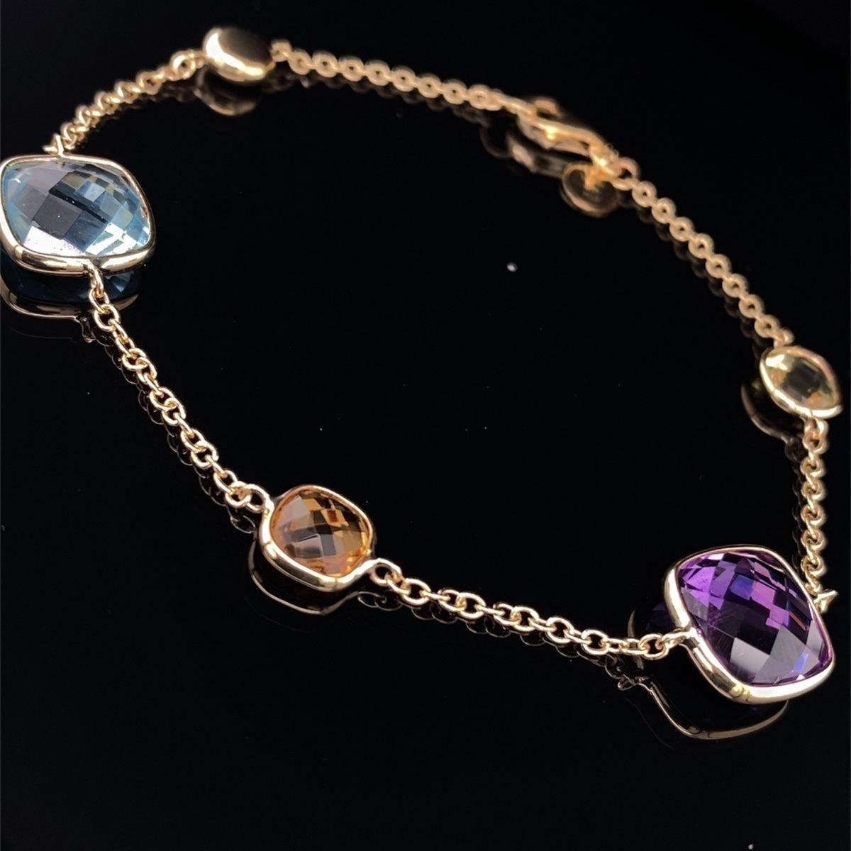 Lemon quartz, amethyst and blue topaz bracelet