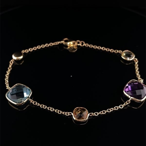 Lemon quartz, amethyst and blue topaz bracelet