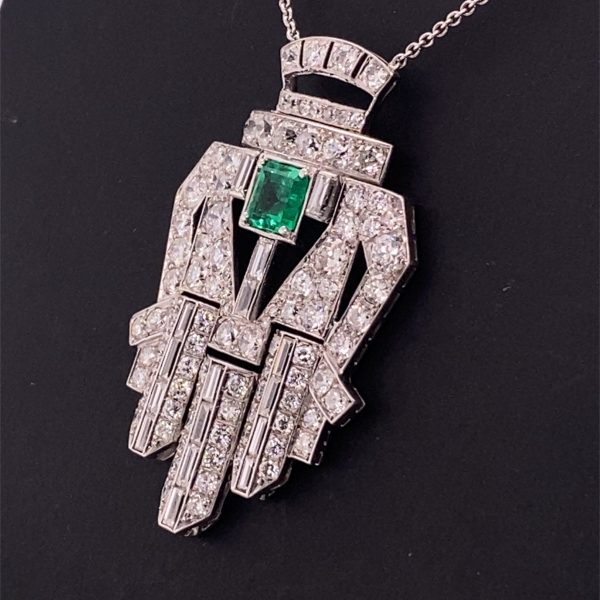 Art Deco style emerald and diamond necklet