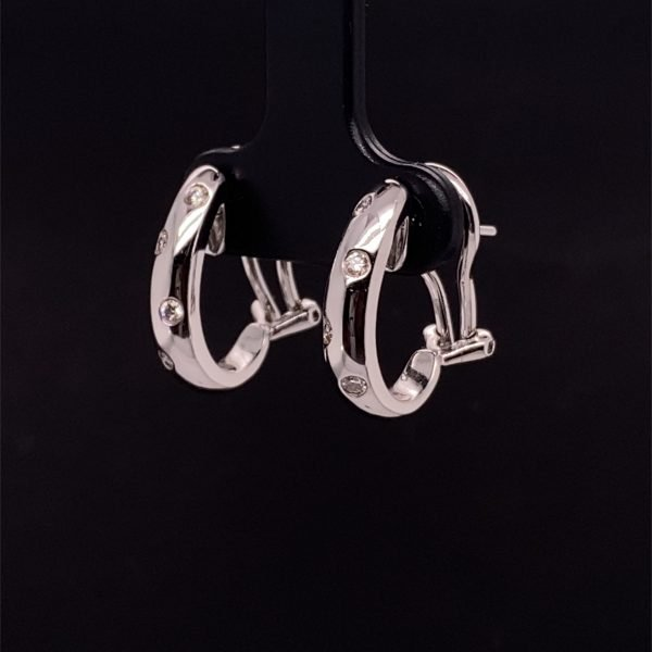 Diamond set white gold huggy earrings