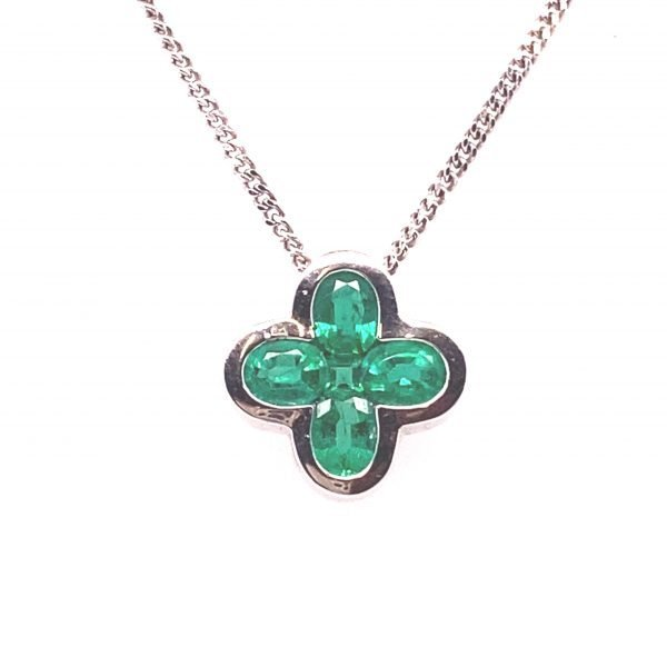 Emerald 'four leaf clover' pendant and chain
