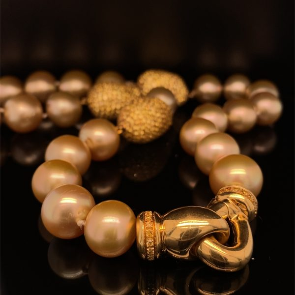 Golden South Sea pearl and yellow sapphire necklet