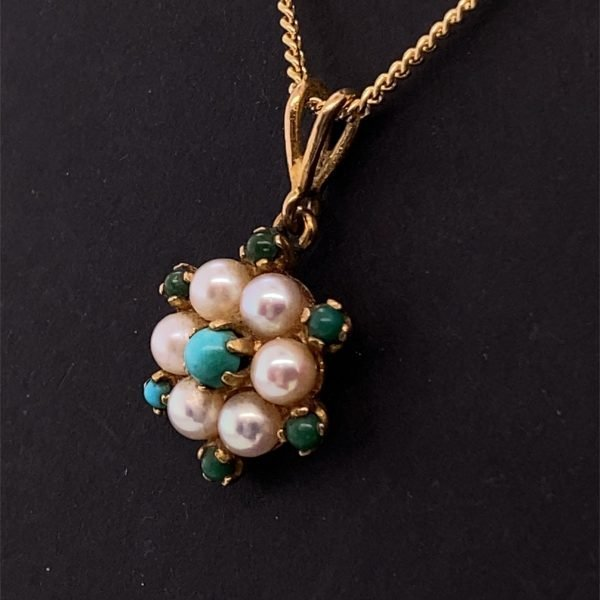 Pearl and turquoise pendant and chain