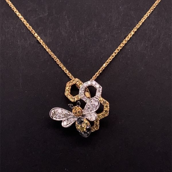 Bee and honeycomb diamond set pendant and chain