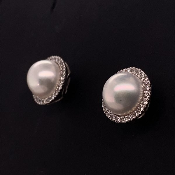 Pearl and diamond cluster earring (diamond surround detachable)