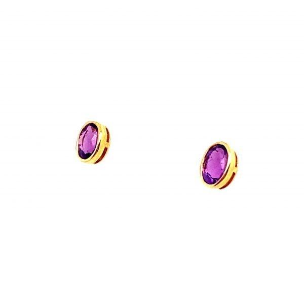 Amethyst oval faceted stud earrings