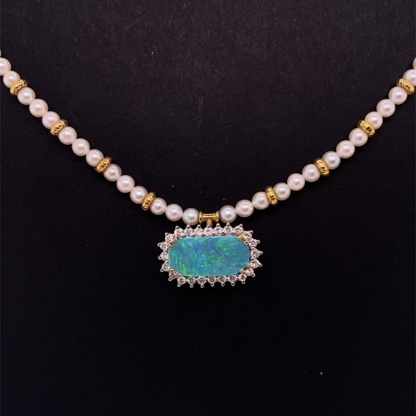 Black opal, diamond and pearl necklet