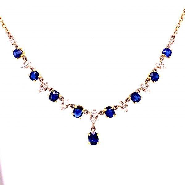 Sapphire and diamond necklet