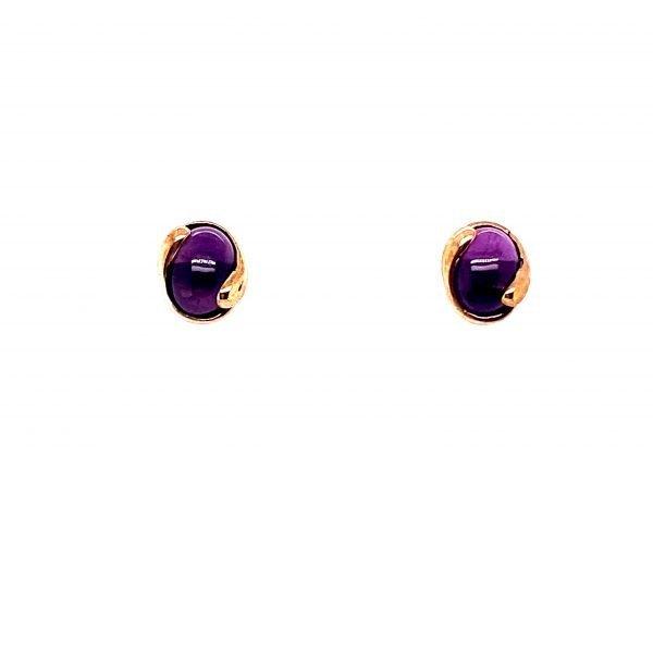 Amethyst oval cabochon stud earrings
