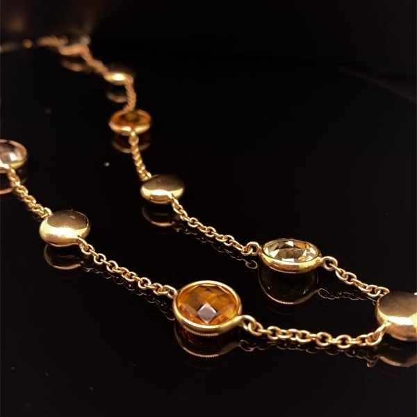 Citrine, lemon quartz and gold necklet